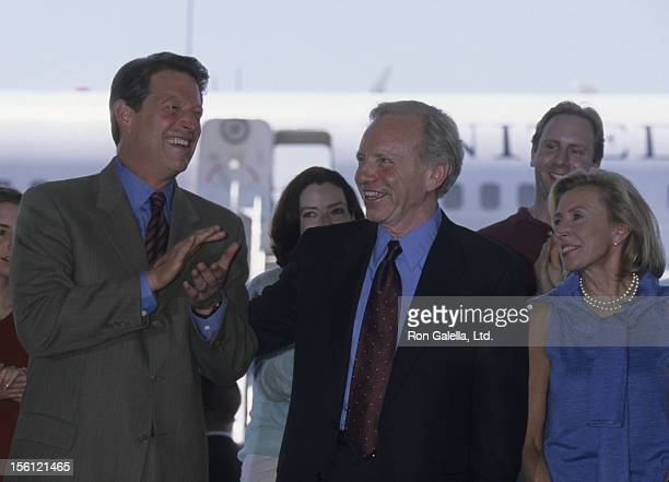 Politicians Al Gore and Joe Lieberman and wife Hadassah Lieberman attend the press conference for Democratic National Convention on August 16 2000 in...