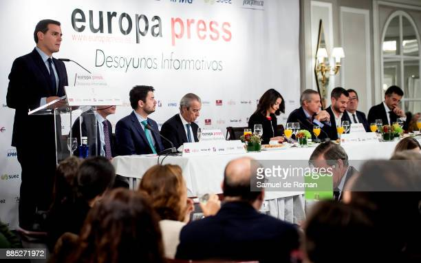 Politicians Ines Arrimadas and Albert Rivera attend the Europa Press Breakfast with Albert Rivera and Ines Arrimadas on December 4 2017 in Madrid...
