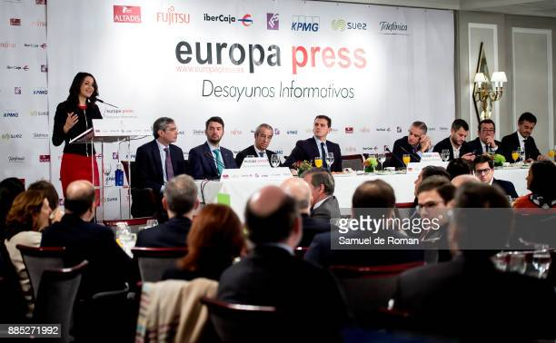 Politicians Ines Arrimadas and Albert Rivera speaks during the Europa Press Breakfast with Albert Rivera and Ines Arrimadas on December 4 2017 in...