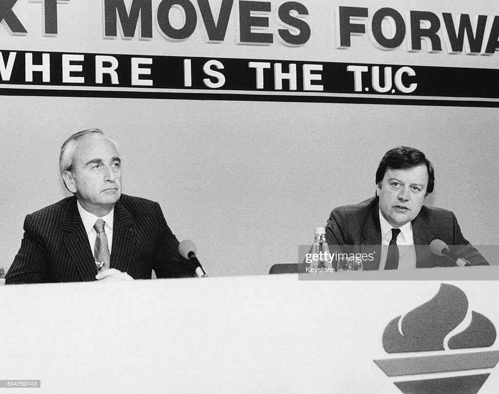 Politicians Lord Michael Young and Kenneth Clarke at the Conservative Party Conference June 1987
