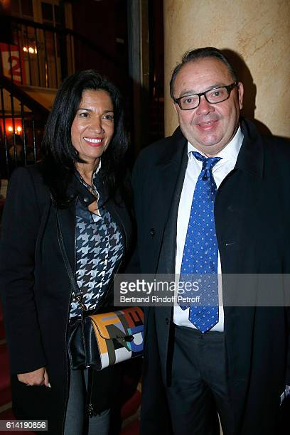 Politicians Samia Ghali and Patrick Menucci attend the 'A Droite A Gauche' Theater Play at Theatre des Varietes on October 12 2016 in Paris France