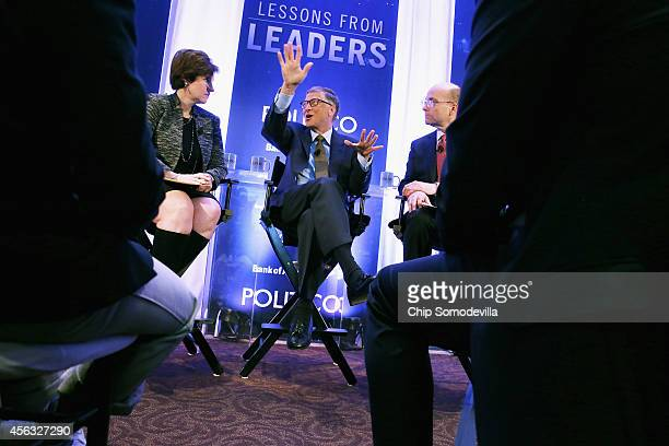Politico Editor Susan Glasser and Politico Chief White House Correspondent Mike Allen talk with Bill Gates founder of Microsoft and cochair of the...