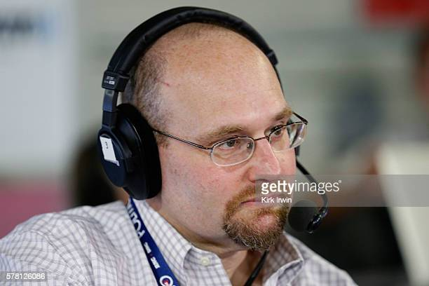 Politico reporter Glenn Thrush talks with Julie Mason while recording an episode of 'The Press Pool' at Quicken Loans Arena on July 20 2016 in...