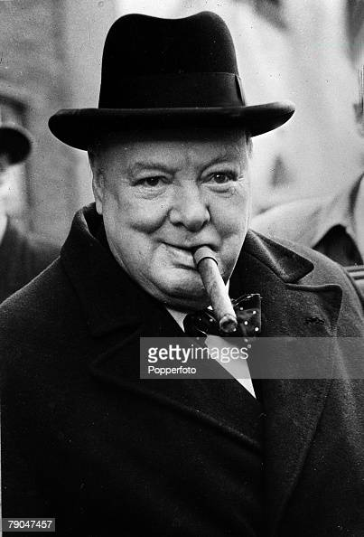 Politics 1950 General Election A portrait of Winston Churchill pictured with his trademark cigar after he had won his Woodford constituency but his...