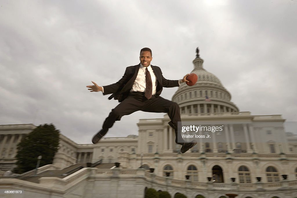 Casual portrait of Illinois congressman Jesse Jackson Jr posing during photo shoot in front of Capitol Building Jackson who took office in the House...