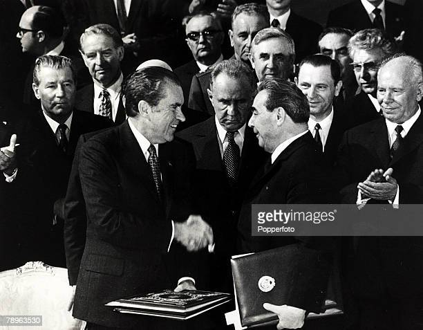 26th May 1972 US President Richard Nixon shakes hands with Russinan President Leonid Brezhnev in the Kremlin after they had signed a US Russian space...