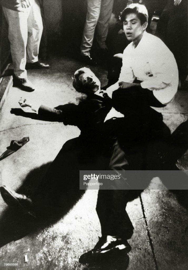 Politics Crime USA Los Angeles California pic 5th June 1968 Democratic Senator Robert Kennedy lies sprawled on the floor at the Ambassador Hotel...