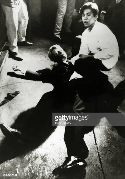 Politics Crime USA Los Angeles California pic 5th June 1968 Democratic Senator Robert Kennedy lies sprawled on the floor at the Ambassador Hotel...