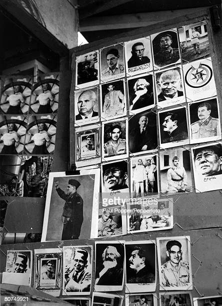 circa 1959 Baghdad Photographs of world leaders on sale in Rashid Street after the Iraq Revolution the leader of the Revolution Qasim is shown bottom...