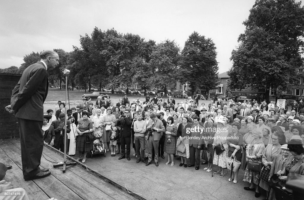 Politics London England July 1964 British Prime Minister Sir Alec Douglas Home speaking to local people in Peckham Rye during his short tour of the...