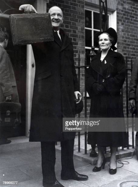 Politics London England March 1952 Budget Day The Chancellor of the Exchequer Rab Butler shows the famous red Despatch box to the crowd outside his...