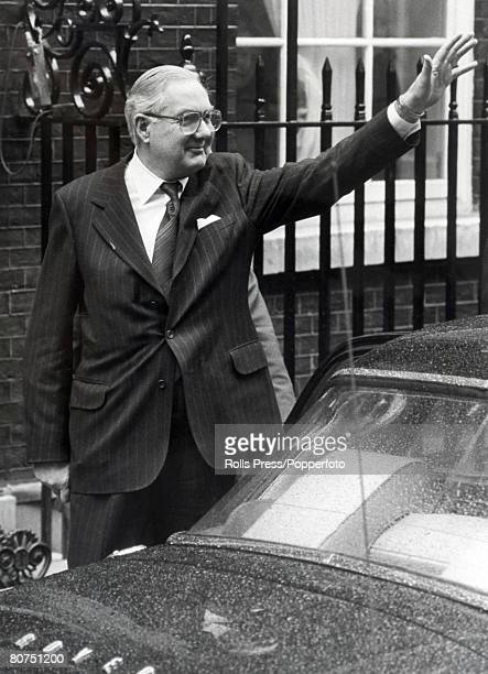 Politics London England March 1979 British Prime Minister James Callaghan waves as he leaves 10 Downing Street on his way to see the Queen to...