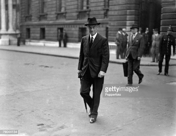 Politics London England September 1938 British Home Secretary Sir Samuel Hoare who created the HoareLaval pact when Foreign Secretary a pact which...