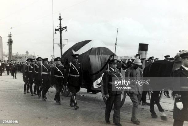 1938 The coffin carrying Kemal Ataturk crossing the Galata Bridge at Istanbul on it's way to Angora Kemal Ataturk 18811938 was a Turkish politician...