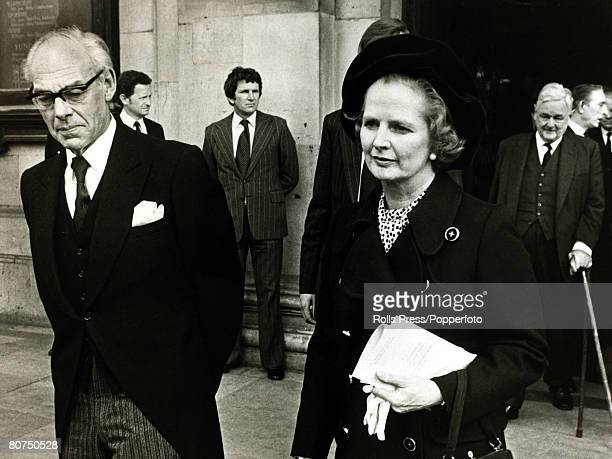 28th April 1979 St Martin in the Fields London British Prime Minister Margaret Thatcher with her husband Dennis Thatcher after attending the memorial...