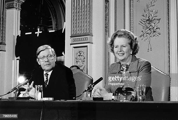 28th March 1980 London German Chancellor Helmut Schmidt pictured with British Prime Minister Margaret Thatcher at a conference in London