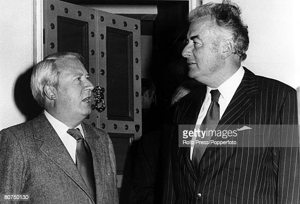 December 1974 London Australian Prime Minister Gough Whitlam right speaking with Conservative Party leader Edward Heath