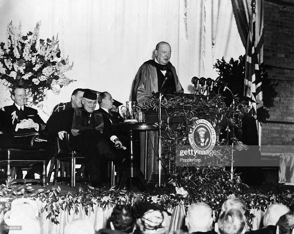 iron curtain speech example Winston churchill delivers his famous iron curtain speech.