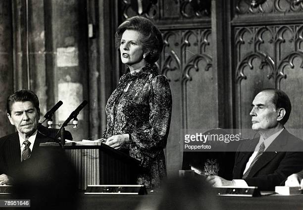 May 1984 London England British Prime Minister and Conservative leader Margaret Thatcher reading a joint declaration in the Guildhall flanked by...