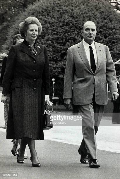 May 1984 London England British Prime Minister and Conservative leader Margaret Thatcher with French President Francois Mitterand Margaret Thatcher...