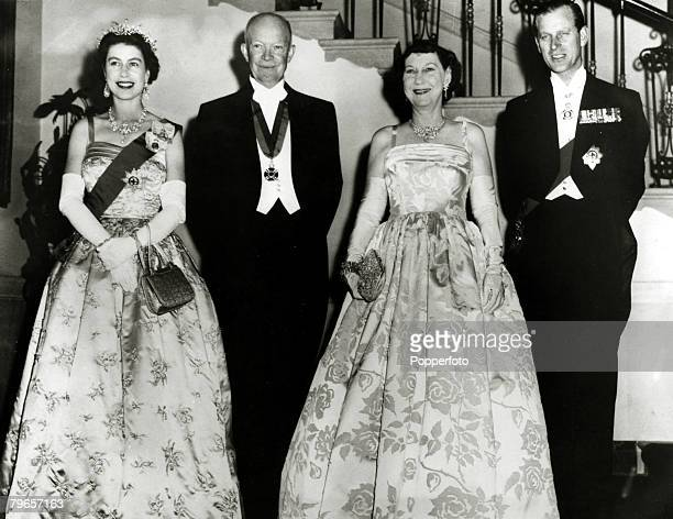 17th October 1957 President Dwight D Eisenhower and Mamie Eisenhower centre with HMQueen Elizabeth and Prince Philip before a state dinner in the...
