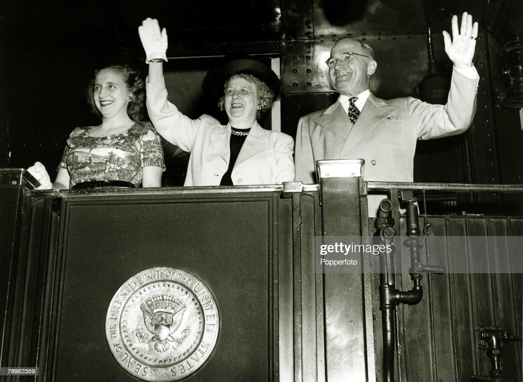 1948, President Harry S, Truman,with Mrs, Truman and daughter Margaret on the campaign trail prior to the 1948 election, Harry S,Truman (1884-1972) became the 33rd President of the United States 1945-1953, He helped instigate the Berlin Airlift (1948-49) and the forming of NATO,