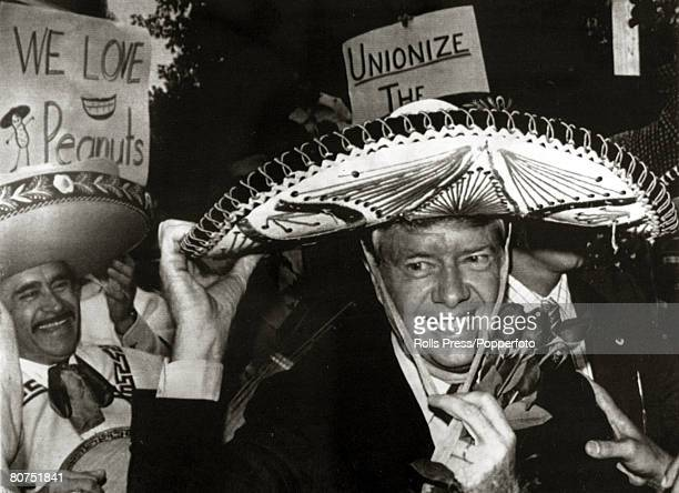 1976 Democratic Presidential nominee Jimmy Carter wearing a sombrero at a Mexican Independence Day celebration in MIchigan Jimmy Carter became the...