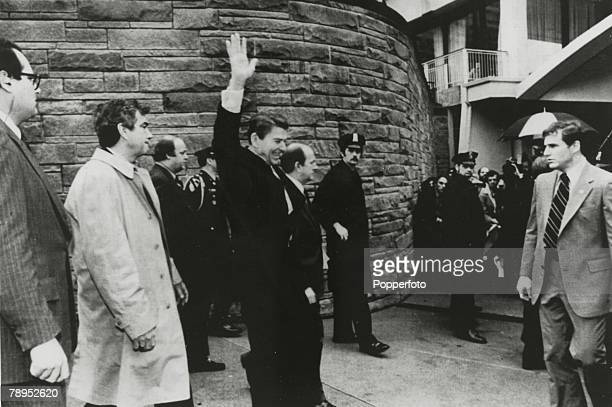 30th March 1981 Washington DC President Ronald Reagan waves shortly before he was shot by a would be assassin Presidential Secretary James Brady and...