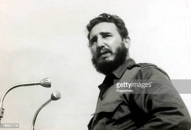 Politics / Revolution Personalities pic circa 1961 Cuban leader Fidel Castro pictured during a rally in Havana Fidel Castro born 1926/27 Cuban...