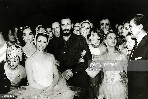 Politics / Revolution Personalities pic May 1963 Moscow Cuban leader Fidel Castro with the cast of the Bolshoi Ballet after he had watched a...