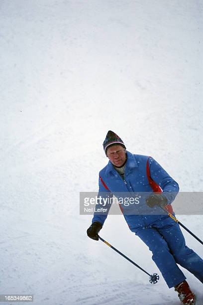 View of United States President Gerald Ford skiing during vacation at Vail Ski Resort Vail CO CREDIT Neil Leifer