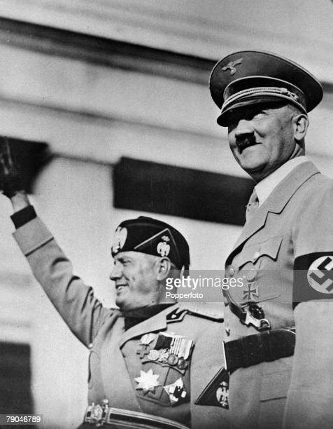 circa 1939 German Chancellor Adolf Hitler with Italian dictator Benito Mussolini both in high spirits