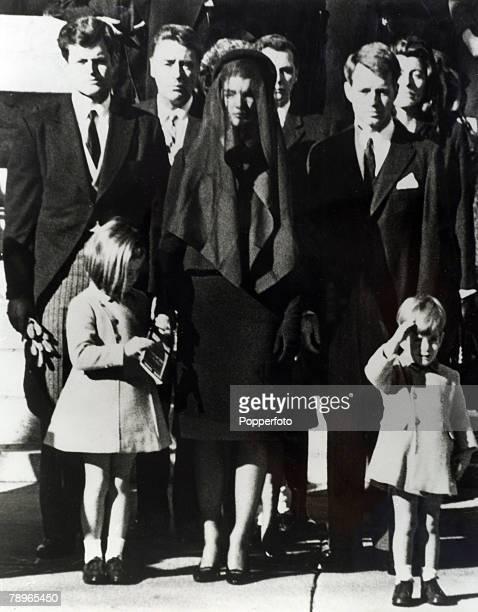 Politics Washington USA 1963 John F Kennedy Funeral Edward Kennedy Wife Jackie Kennedy Attorney General Robert Kennedy and children John Kennedy...