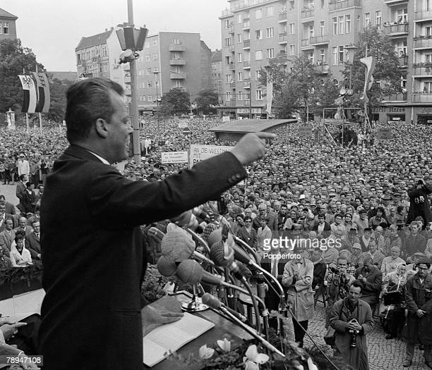 Politics West Berlin Germany 17th August 1961 Mayor Willi Brandt speaks to a crowd of over 200000 people at a rally in the city