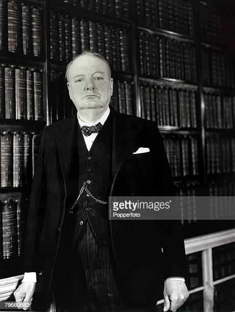 Politics/World War II circa 1945 British Prime Minister Winston Churchill pictured in his Downing Street office shortly before the end of the Second...