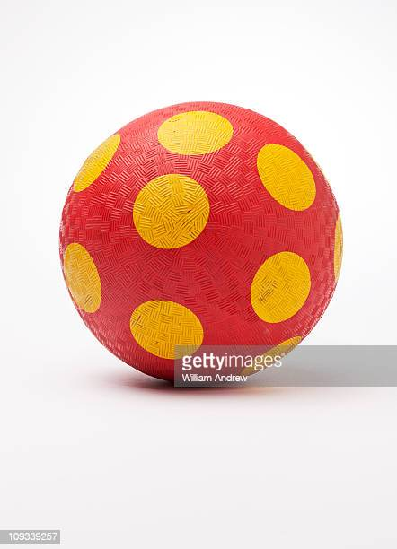 Polka-dot playground red rubber ball
