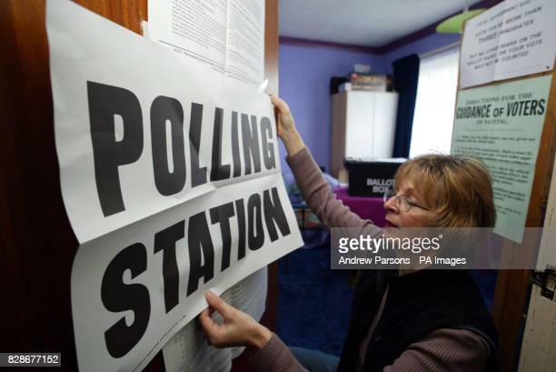 Poll Clerk Caroline Bishop prepares a Polling Station in Chettisham Cambridgeshire in the bedroom of a family bungalow * Mrs Carmelia Bond offered...