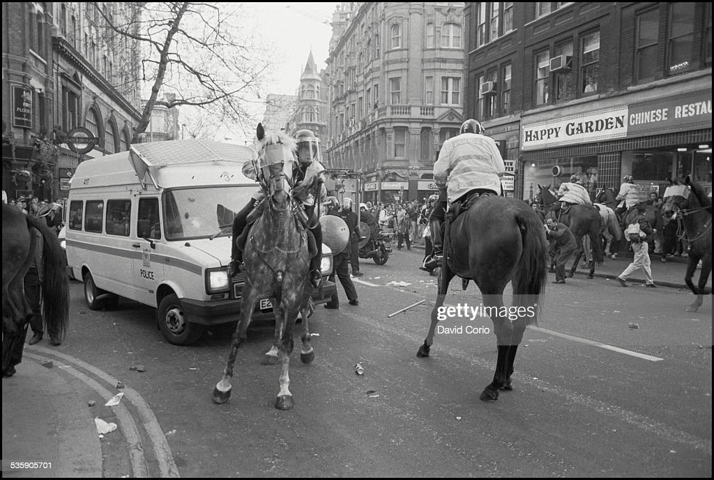 A Poll Tax demonstration in the West End of London, UK, 31st March 1990.