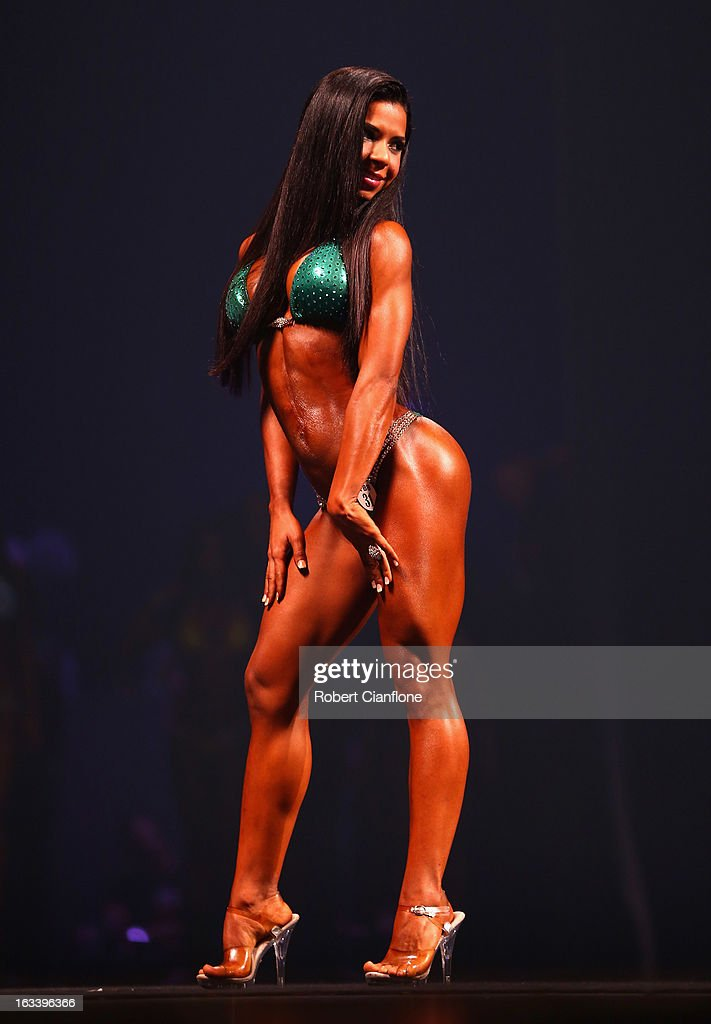 Pollianna Moss of Hawaii of Australia poses in the Women's Bikini section during the IFBB Australia Pro Grand Prix XIII at The Plenary on March 9, 2013 in Melbourne, Australia.