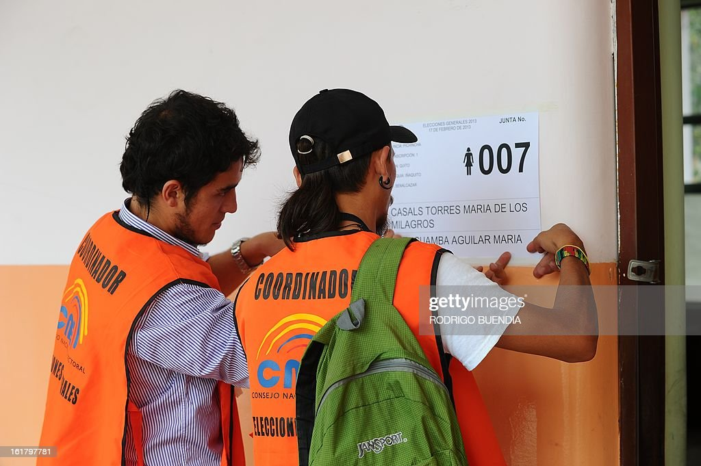 Polling station coordinators prepare the necessary material for Sunday's general elections, on February 16, 2013 in Quito. Tomorrow 11,7 million Ecuadoreans will elect their president and 142 lawmakers.