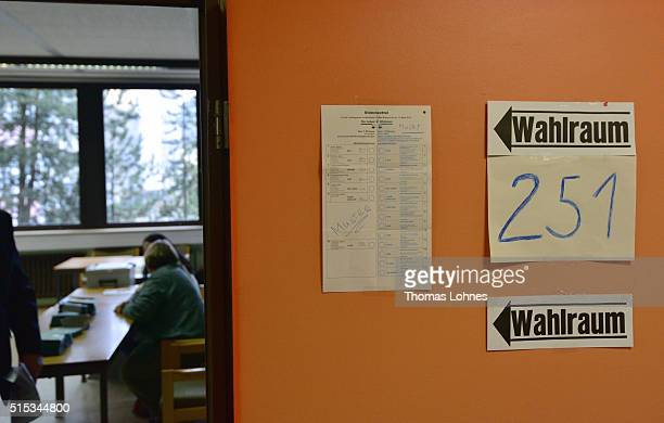 A polling station for the RhinelandPalatinate state elections pictured on March 13 2016 in Bad Kreuznach Germany State elections taking place today...