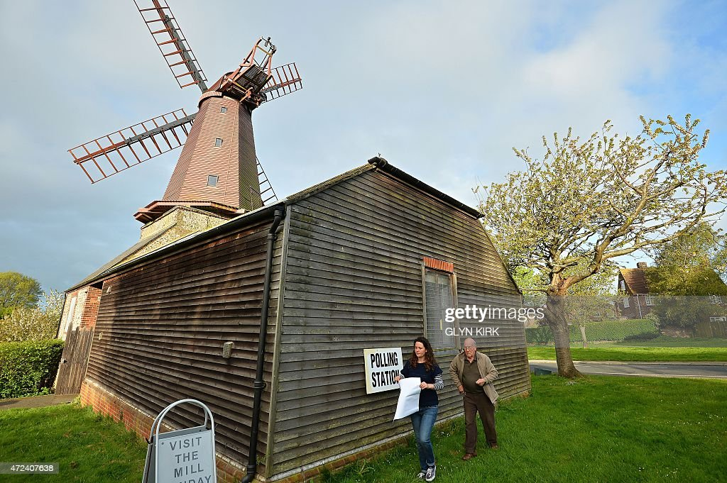A polling station is prepared at the West Blatchington Windmill near Brighton in southern England on May 7, 2015, as Britain holds a general election. Polls opened Thursday in Britain's closest general election for decades with voters set to decide between the Conservatives of Prime Minister David Cameron, Ed Miliband's Labour and a host of smaller parties.