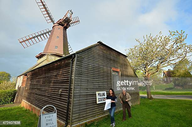 A polling station is prepared at the West Blatchington Windmill near Brighton in southern England on May 7 as Britain holds a general election Polls...