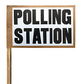 Polling station sign cut-out