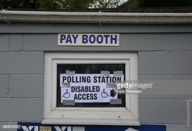 Polling station signage on display at Sandygate the oldest football ground in the world and home of Hallam FC on May 22 2014 in Sheffield England...