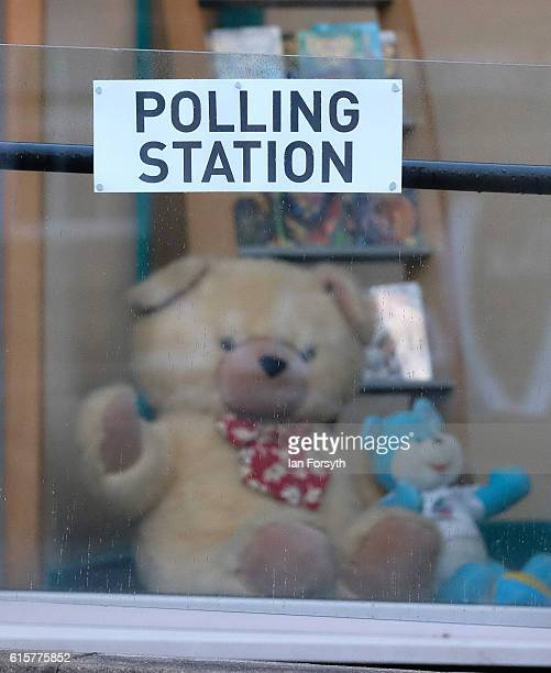 Polling station signs are displayed at Birstall Library as voting gets underway in the Batley and Spen byelection on October 20 2016 in Birstall...