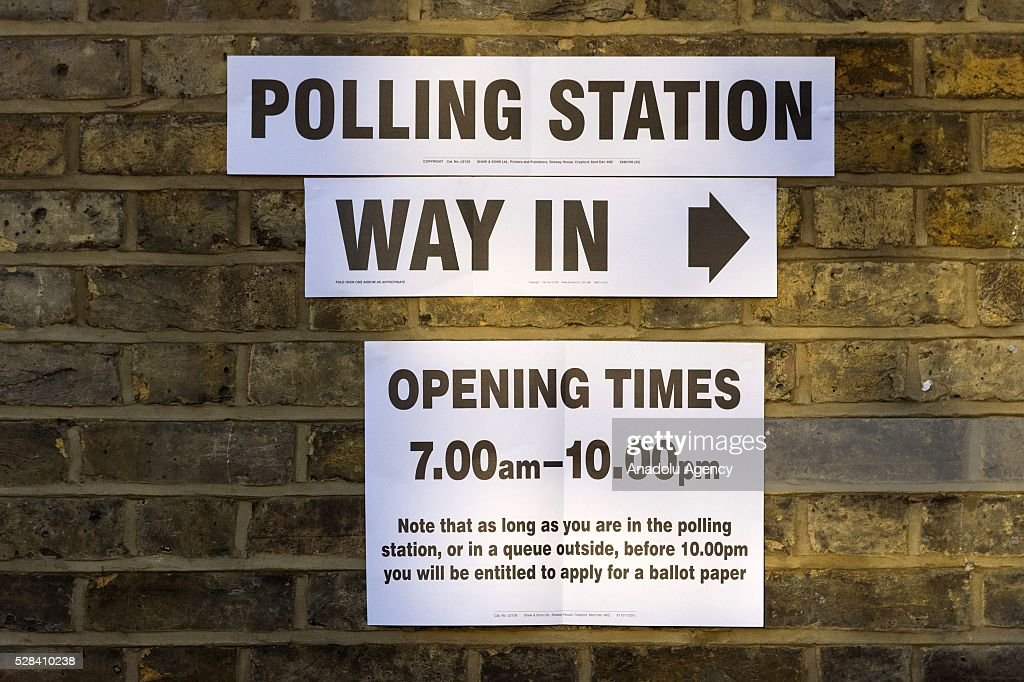 Polling station signs are seen outside KItson Hall polling station at the London Mayoral Election in London, United Kingdom on May 05, 2016.