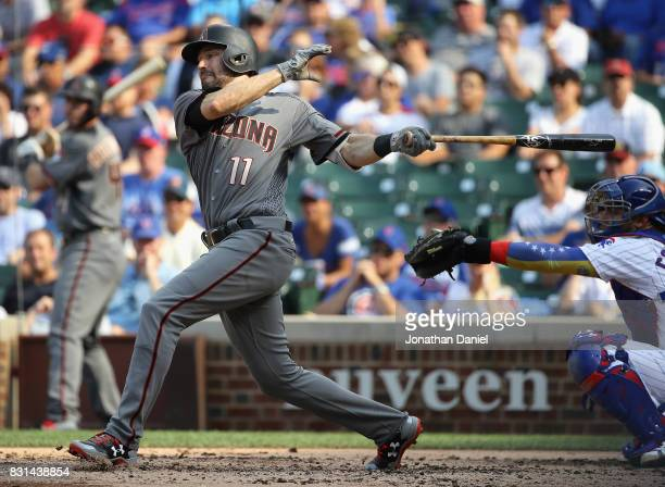 J Pollock of the Arizona Diamondbacks bats against the Chicago Cubs at Wrigley Field on August 3 2017 in Chicago Illinois The Diamondbacks defeated...