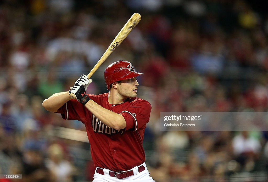 A.J. Pollock #11 of the Arizona Diamondbacks bats against the Colorado Rockies during the MLB game at Chase Field on October 3, 2012 in Phoenix, Arizona.