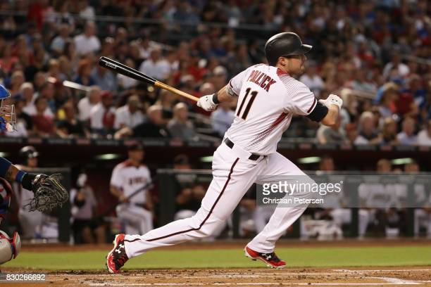 J Pollock of the Arizona Diamondbacks bats against the Los Angeles Dodgers during the MLB game at Chase Field on August 9 2017 in Phoenix Arizona